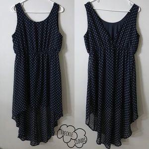 FOREVER 21 navy blue white polka dot dress high lo